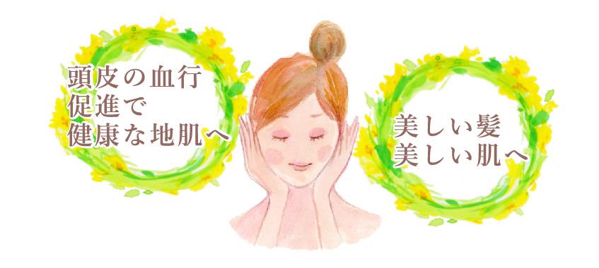 頭皮の血行促進で健康な地肌へ。美しい髪、美しい肌へ。