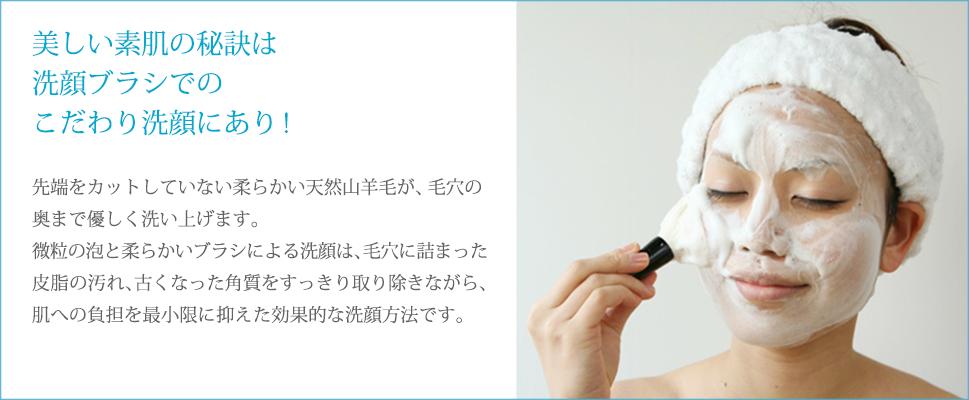 美しい肌の秘訣は洗顔ブラシでのこだわり洗顔にあり! 先端をカットしていない柔らかい天然山羊毛が、毛穴の奥まで優しく洗い上げます。微粒の泡と柔らかいブラシによる洗顔は、毛穴に詰まった皮脂の汚れ、古くなった角質をすっきり取り除きながら、肌への負担を最小限に抑えた効果的な洗顔方法です。