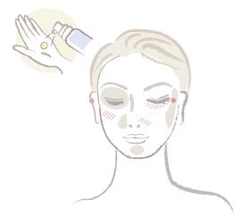 S/Cコントロールカラーを掌に1プッシュ取り、気になる部分に軽くのせ指先で優しく伸ばしていきます。