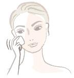スポンジ又はブラシでファンデーションを肌全体に優しく伸ばしていきます。